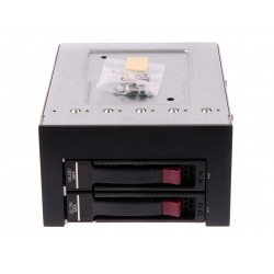 """SATA/SAS 2-bay cage for 3,5"""" HDD with backplane and 2 pc caddy"""